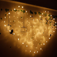 Heart-shaped LED fairy string curtain Light 2M*1.5M 124 Leds Valentine Xmas Christmas Wedding party window garland decor