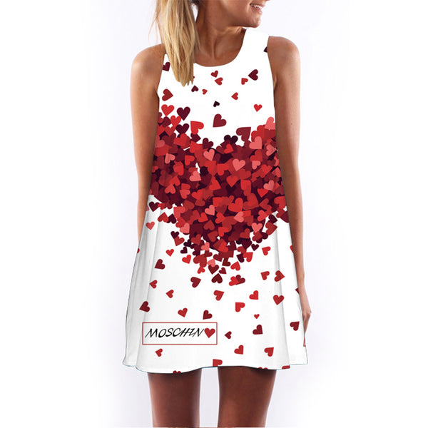 2017 New Creative Women Summer Dress Sleeveless Heart Print Above Knee Short Casual Beach Dresses