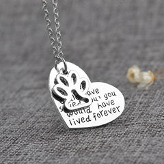 MIUSI Creative Vintage Heart Paw Pendant Romantic Charms Silver Long Necklaces Pet Lover Necklace Animal Keepsake