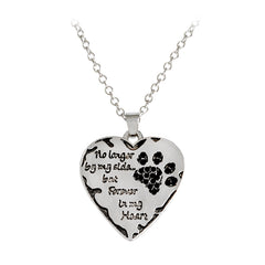 "Simple Hot Pet Necklace ""no longer by my side, but forever in my heart"" paw claw Shape Pendant Necklace Special Gift Dog Lovers"