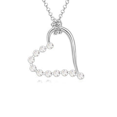 Necklace kolye collares Silver Plated Chain Crystal Heart Pendant NecklaceWomen Valentine's Day Gift of Lovers With Rhinestone