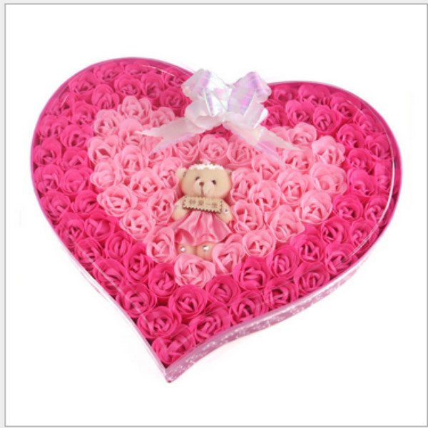 92PCS/BOX Beauty Soap Handmade Rose Soap Flower Loving Heart Whitening Wedding Valentine's Day Christmas Gift Bath Accessories