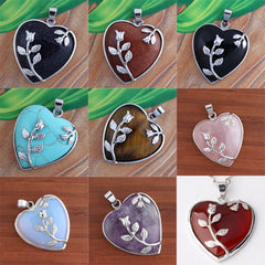 European fashion Heart Stone Chain Necklace Opal Love Necklace Leaf Flower Necklace Pendant Valentine's day gifts
