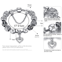 ELESHE Fashion Silver Heart Charms Bracelet Bangle for Women DIY 925 Crystal Beads Fit Original Bracelets Women Pulseira Jewelry
