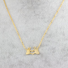 GORGEOUS TALE Stainless Steel Chain Jewelry Double Hand Love Heart Necklaces Pendants for Women Gold Statement Necklace 2017