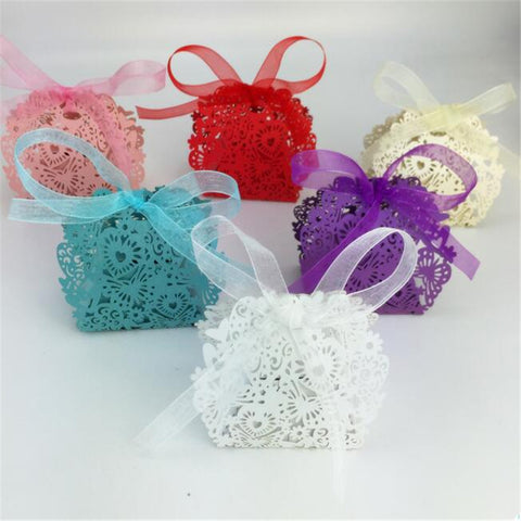 20pcs/set Romantic Wedding favors Decor Butterfly Candy Gift Boxes Wedding Party Candy Box with Ribbon New C0