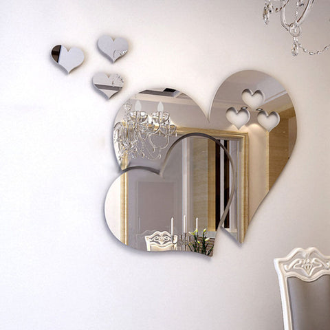 New 3D Mirror Love Hearts Wall Sticker Decal DIY Home Room Art Mural Decor Removable Mirror Wall Sticker