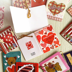 72pcs/lot cute heart design valentine day greeting message thankful paper card party decoration hanging tag