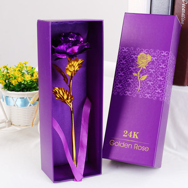 24K Gold Plated Golden Rose Flower Valentine's Day Gift Holidays Decor With Box
