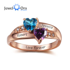 Birthstone Rings Personalized Jewelry Engrave 925 Sterling Silver Heart Ring Classic Cubic Zirconia Ring (JewelOra RI102347)