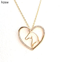 hzew Crystal heart - shaped horse pendant necklace brand necklace fashion jewelry