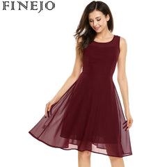 FINEJO Summer Women Chiffon Dress 2017 New Fashion Casual Sleeveless Patchwork Semi-sheer O-Neck Cocktail Party Swing Dress