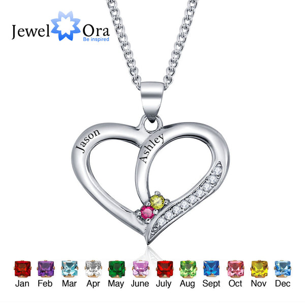 Personalized Engrave Name Pendant Necklace DIY Birthstone Heart 925 Sterling Silver Necklaces & Pendants (JewelOra NE101234)