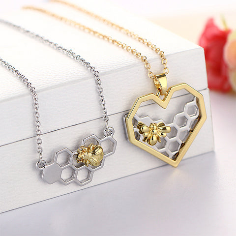 Sale 1Pc Golden/Silvery Heart Honeycomb Bee Animal Pendant Women Girls Trendy Lovely Pendant Necklace Gift