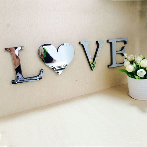 LOVE/HOME 4pcs/set Mirror Acrylic Wall Sticker English Letters DIY Quote Affixed Decal Home Decor 10*8*1cm 3D Alphabet Wedding