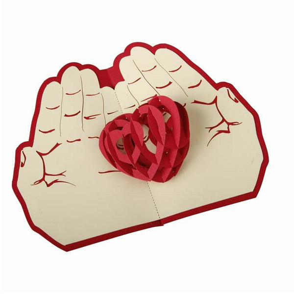 Valentine day christmas card red heart pop up card 3D handmade greeting cards christmas gift A15
