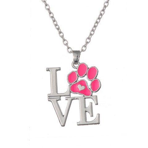 my shape Pink Enamel Animal Pet Dog Cat Paw Print Heart Pendant Necklace for Little Girls