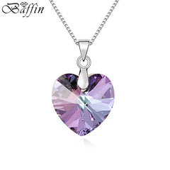 BAFFIN Quality 100% Original Crystals From SWAROVSKI Heart Pendant Necklaces Women Handmade Maxi Collares Valentine's Day Gift