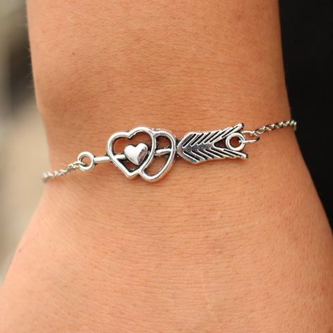 SL186 Double Heart Charm Bracelets Cupid LOVE Arrow Women Jewelry Bracelet & Bangle Gift For Girls Valentine's Day 2017 HOT Sale