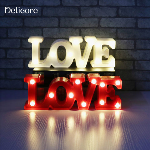 DELICORE Romantic Small White LOVE Marquee Sign Night Lights For Home Wedding Decoration Valentine Gift S091