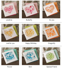 small greeting cards n enveloeps,birthday/valentine/business/friendship paper laser cut mini cards