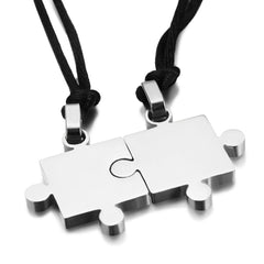 eejart 1 Pair Romantic Couple Lovers Pendants Necklaces Titanium Steel Smooth Puzzle Necklaces For Lover Valentine Gift