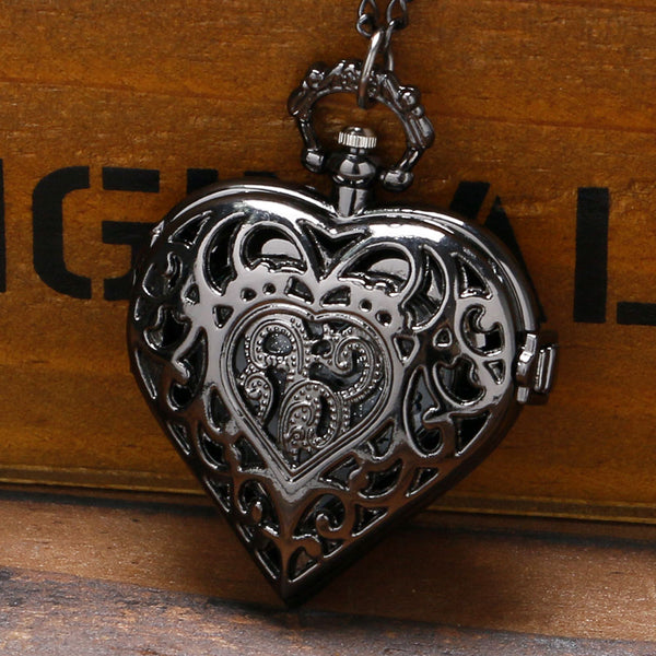 Heart Sweet Gifts for Women Ladies Girl Wife Girlfriend Hollow Fine Quartz Pocket Watches Necklace Pendant Chain Nurse Watch