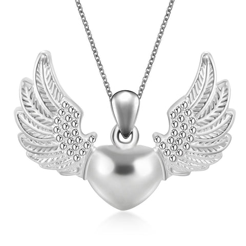 New Women Statement Neckalce Jewelry Retro Hollow Angel Wings Heart Pendant Necklace