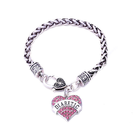 DIABETIC Bracelets DIY Crystal Heart Charm Bracelet Awareness Medical Alert Bracelet Gift