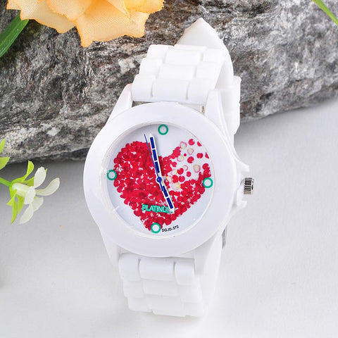 Susenstone Fashion Luxury Women Watch Women White Silicone Jelly Clock Red Heart petals Clock Sports WristWatch reloj mujer Saat