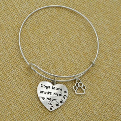 New Design Heart Shape Dog Charm Bracelet for Dog-lover's Gift Adjustable Expandable Wiring Dog Paw Bangles