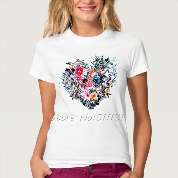Fashion Floral Skull Love Heart Design T Shirt Men/Women Valentines day
