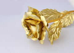 24K Gold color Foil Plated Rose Golden color Wedding Decoration Flower Valentine's Day Gift lover's Dipped artificial flower Wh