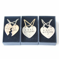 Cute Two Flap Stitching Best Bitches Broken Heart Pendants Necklace with Gift Box