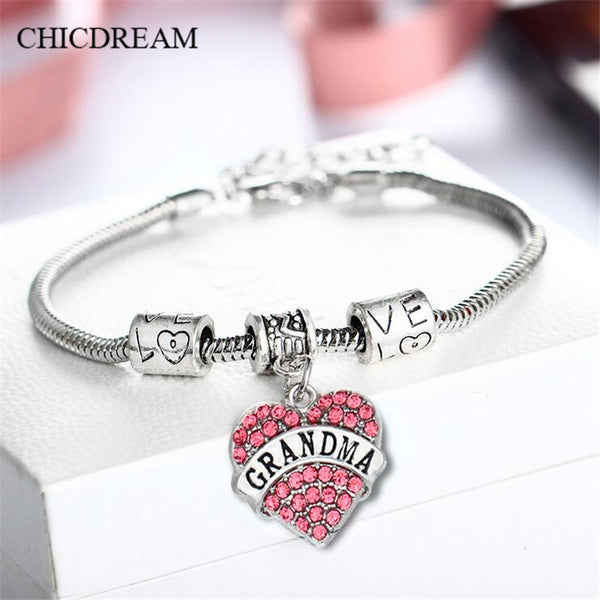 CHICDREAM 2017 New Grandma Bangle Fashion Jewelry Family Gift Charm Heart Shape Snake Chain Crystal Grandma Bracelet For Women