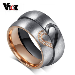 Vnox Vintage Love Puzzle Heart Ring for Valentines Wedding Engagement for Female / Male