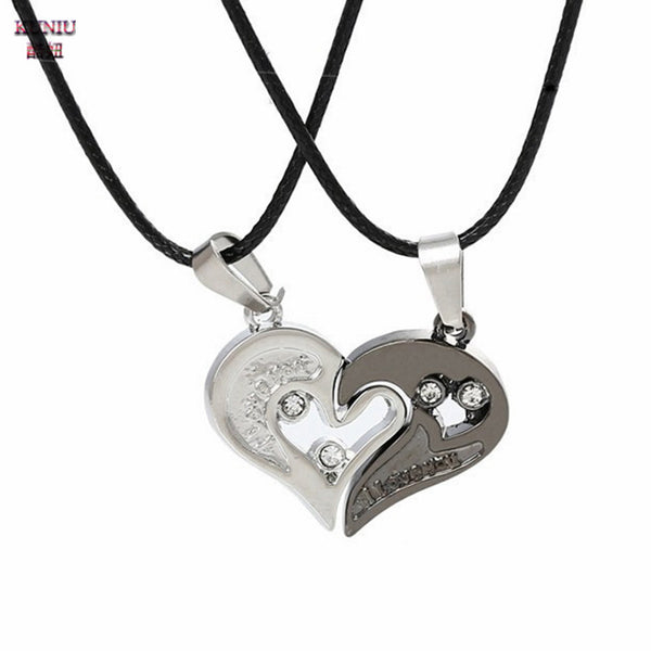 KUNIU Fashion 1 Pair Lovers' Couple Pendant Necklace Matching Hearts Shape Rhinestone Pendant Stainless Steel Lovers Necklace