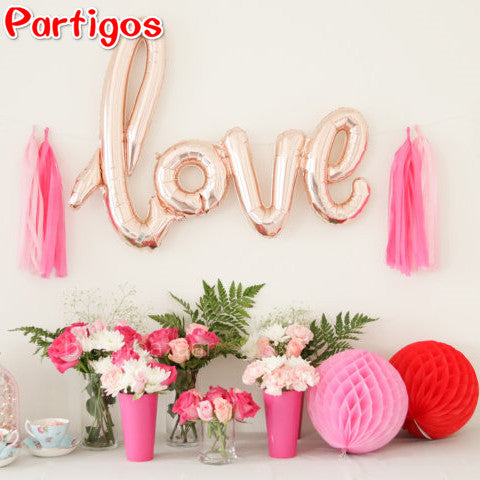 1pcs Red Champagne Ligatures LOVE Letter Foil Balloon Anniversary Wedding Valentines Party Decoration i love you helium globos
