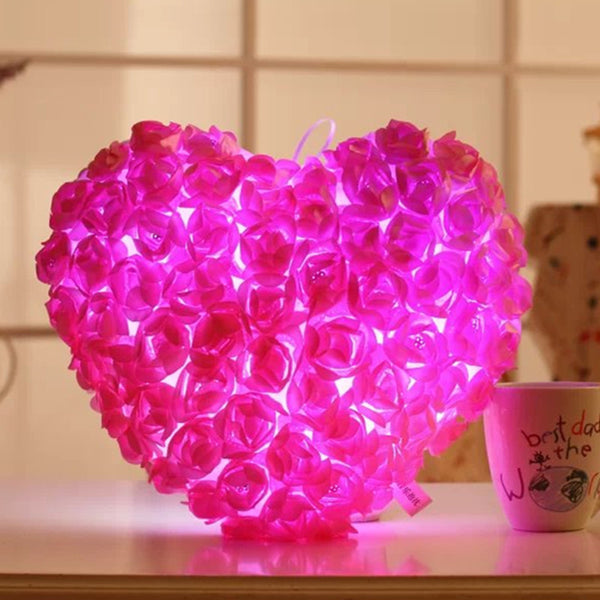 Love Heart Rose LED Flashing Cushion Plush Toy Wedding Gift Valentine's Day Present Luminous Light Doll 38cm