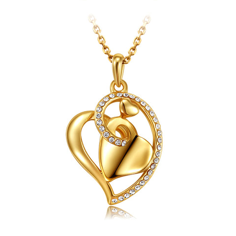 collar mujer famous brand jewelry gold color heart love crystal pendant women fashion necklace female Valentine's Day gift girl