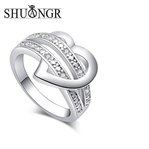 SHUANGR 1 X Newest Fashion Women Jewelry Silver-Color Bling Heart Love Women Wedding Ring Size 7 8 9 Valentine's Day Gift