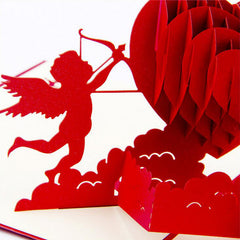 Fashion 3D Pop Up Foldable Cut Paper Greeting Cards Creative Handmade Love Cupid Post Cards Valentines Wedding Xmas Gift