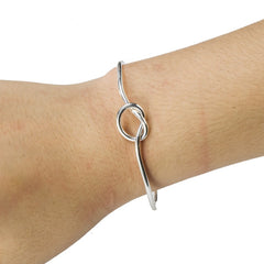yiustar New Open Love Knot Stretch Copper Bracelets for Women Dainty Knot Bangles G004