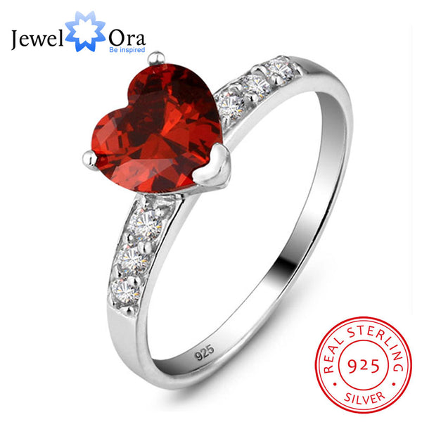 Genuine 925 Jewelry Gifts For Woman Classic CZ Heart Rings For Women Sterling Silver Jewelry Valentines Gift(JewelOra Ri100528)