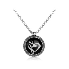 Glow In The Dark Cute Bass Clef Heart of Treble Clef Music Note Symbol Infinity Heart Pendant Necklace