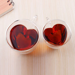 Heart Shaped Heat Resistant Double Wall Layer Clear Glass tea cup 240/180ml Lovers drinking glass Coffee Mug With Handle P30