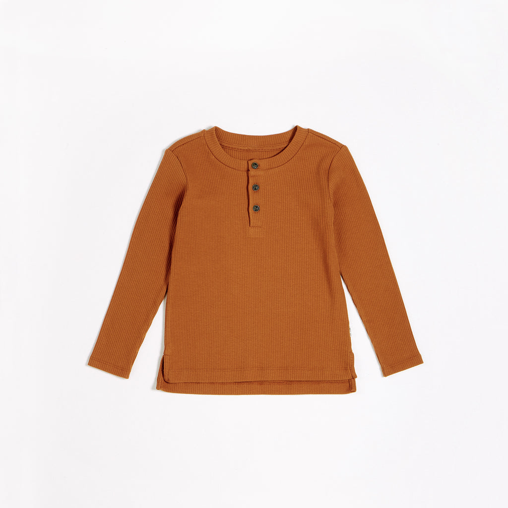 Autumn Brown Modal Rib Henley Top (2T-14T)