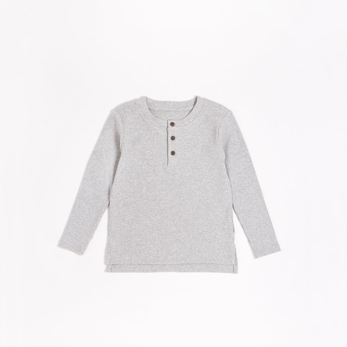 Heather Grey Modal Rib Henley Top (2T-14T)