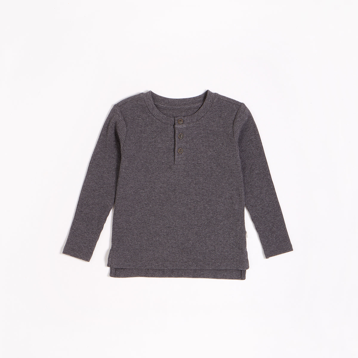 Dark Grey Modal Rib Henley Top (2T-14T)