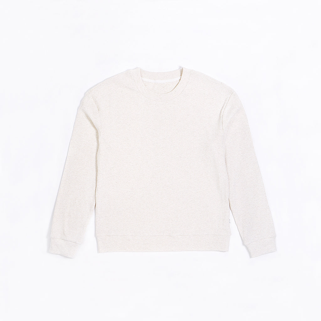 Women's Cream Modal Rib Crewneck